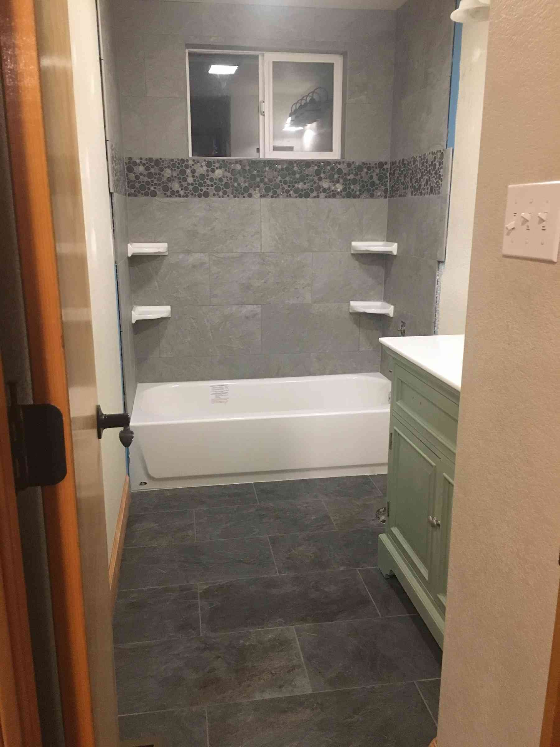 New shower and floor tile