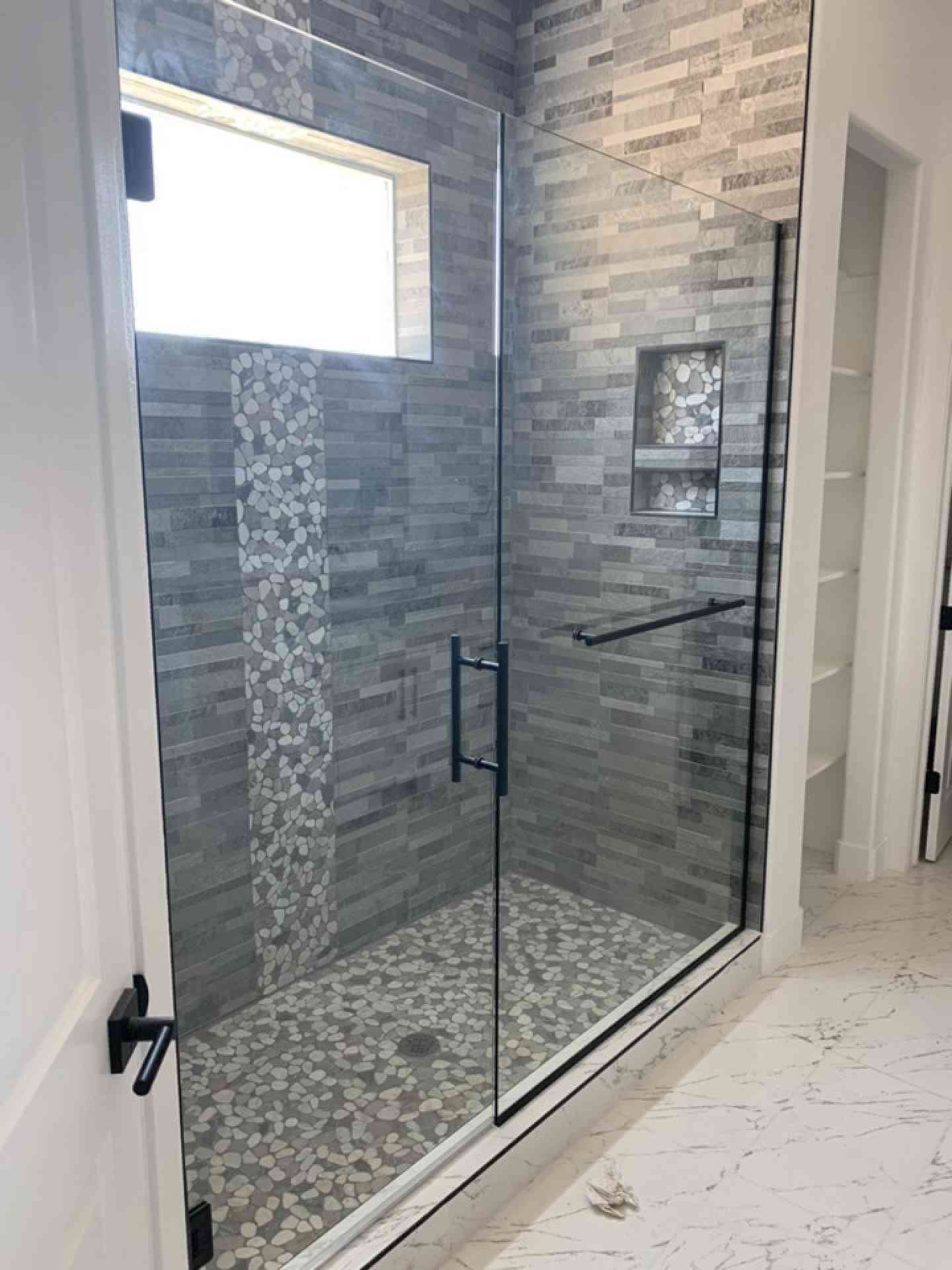 Master Bathroom Shower with Glass Installed