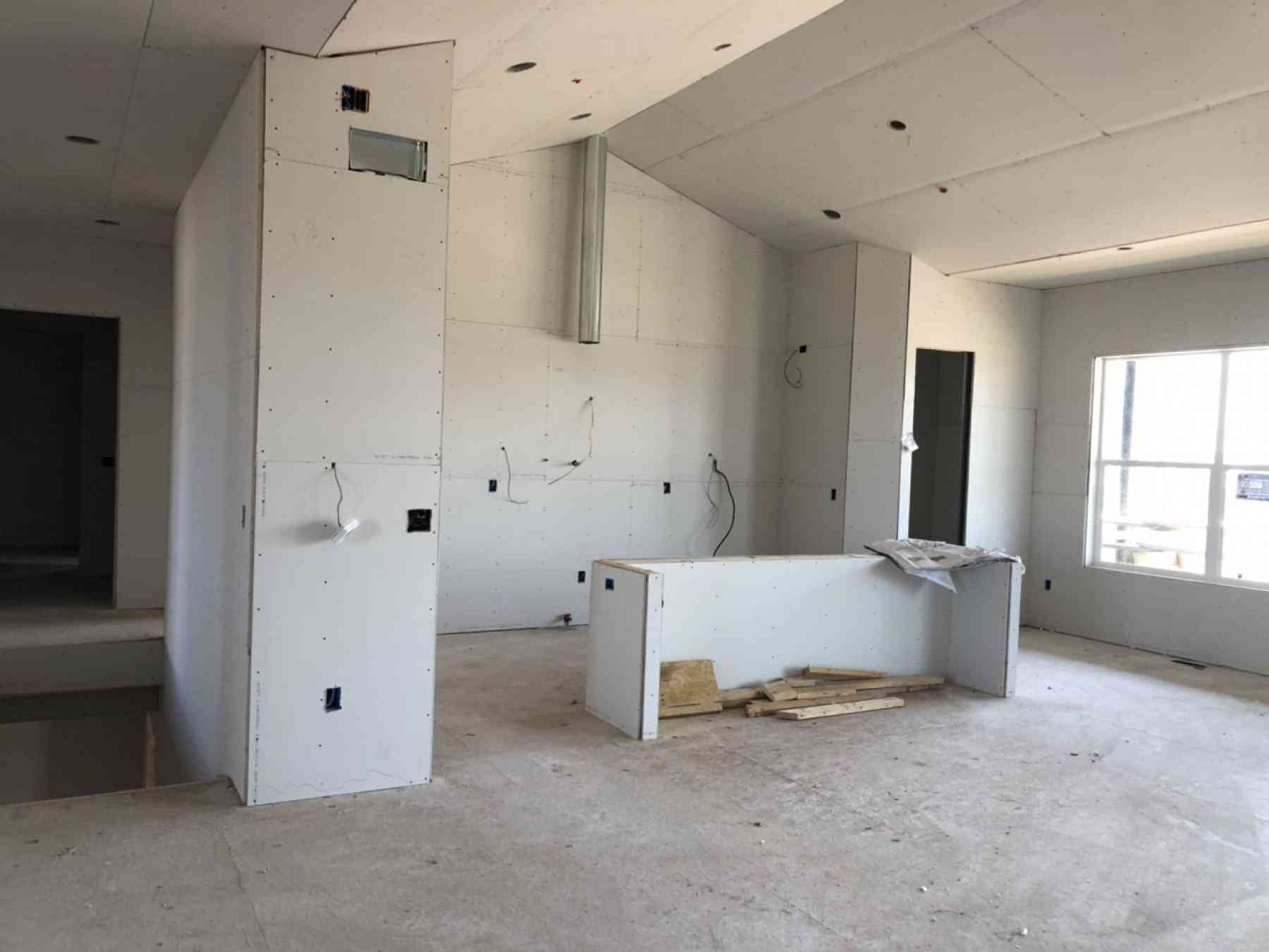 Kitchen View During Drywall Installation